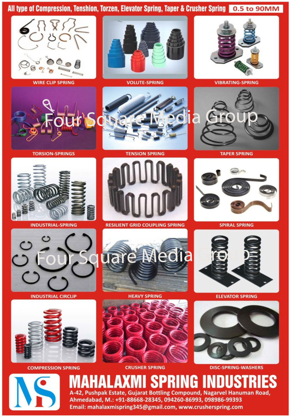 Springs, Compression Springs, Tenshion Springs, Torzen Springs, Elevator Springs, Taper Springs, Crusher Springs, Wire Clip Springs, Volute Springs, Vibrating Springs, Torsion Springs, Tension Springs, Industrial Springs, Resilient Grid Coupling Springs, Spiral Springs, Industrial Circlips, Heavy Springs, Disc Spring Washers
