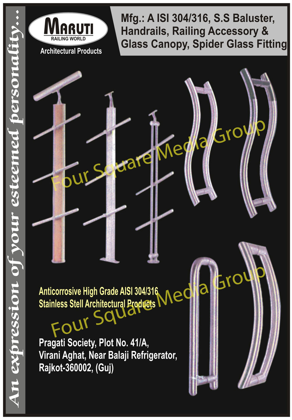 Stainless Steel Balusters, Stainless Steel Handrails, Railing Accessories, Glass Canopy, Spider Glass Fittings