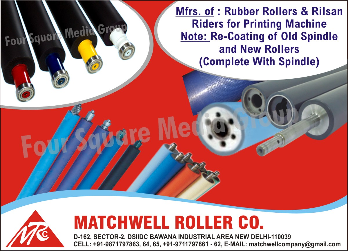 Printing Machine Rubber Rollers, Old Spindle Recoating, Complete New Rollers with Spindle ,Rubber Rollers, Rilsan Riders
