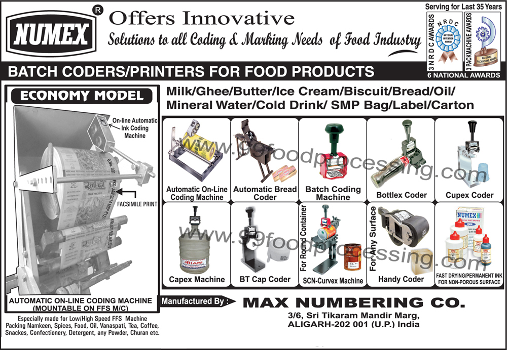 Ink Coding Machines, Online Coding Machines, Automatic Bread Coders, Batch Coding Machines, Bottlex Coders, Cupex Coders, Capex Machines, BT Cap Coders, Curvex Machine, Handy Coder, Batch Coder For Food Products, Batch Printer For Food Products, FFS Machines, SCN Curvex Machines, Permanent Inks For Non Porous Surfaces, Fast Drying Ink For Non Porous Surface, Marking Machine, Stamping Machine, Automatic Online Ink Coding Machines