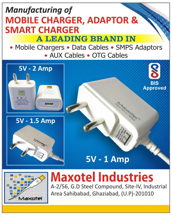 Mobile Chargers, Adapters, Smart Chargers, Data Cables, SMPS Adapters, Aux Cables, OTG Cables