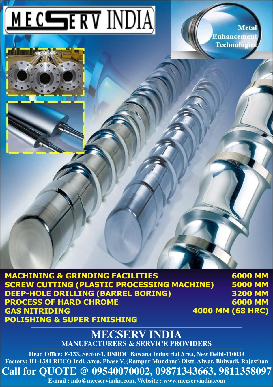 PLASTIC PROCESSING Machine, SCREWs and BARRELs,  DIES,  MACHINEs TIE-BARS and SHAFTs, HYDRAULIC PISTONs, CYLINDERS, Screw Cutting Machine, 