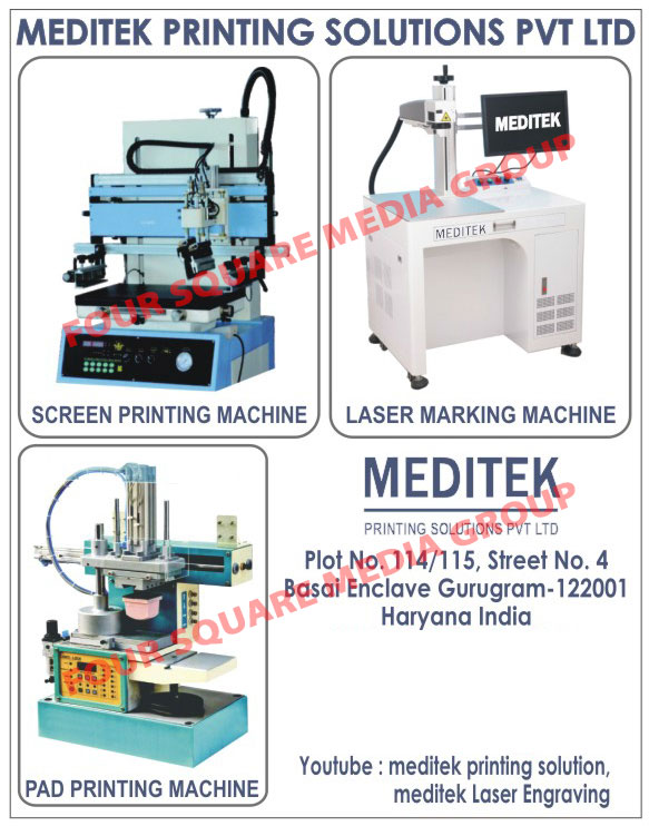 Pad Printing Machines, Laser Printing Machines, Screen Printing Machines, Laser Marking Machines
