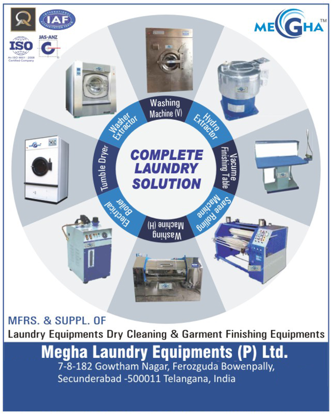 Laundry Solution, Laundry Equipment, Dry Cleaning Equipment, Garment Finishing Equipment, Washing Machine, Hydro Extractor, Vacuum Finishing Table, Saree Rolling Machine, Electrical Boiler, Tumble Dryer, Washer Extractor