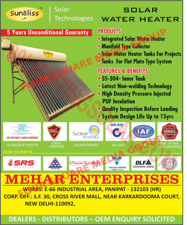 Solar Water Heaters, Integrated Solar Water Heaters, Manifold Collectors, Solar Water Heater Tanks, Flat Plate System Tanks