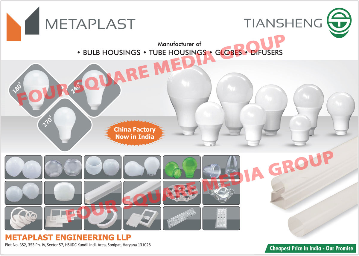 Led Housings, Led Light Housings, Led Bulb Housings, Led Tube Housings, Led Tube Light Housings, Globes, Difusers