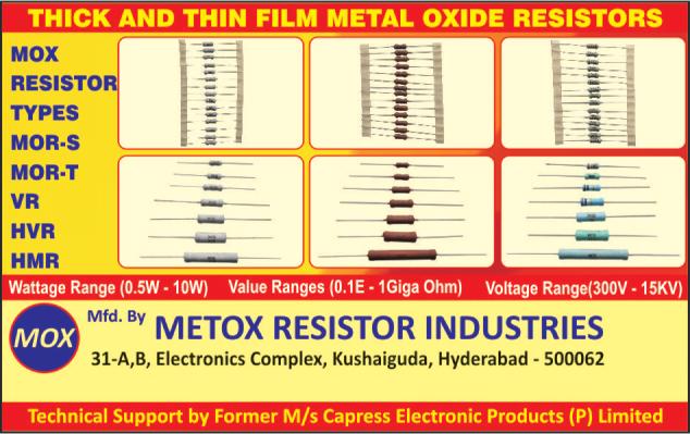 HVR, Mox Resistors, Electronics components, Electronic Products, Resistors, Metal Oxide Resistors, Industrial Resistors