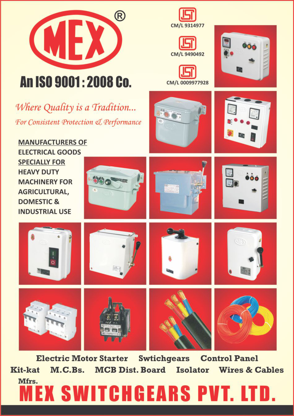 Electrical Goods, Electric Motor Starters, Switchgears, Switch Gears, Control Panels, Kit Kat Fuse Units, MCB Distribution Boards, Isolators, Wires, Cables, Agricultural Machinery, Domestic Machine, Industrial Machine