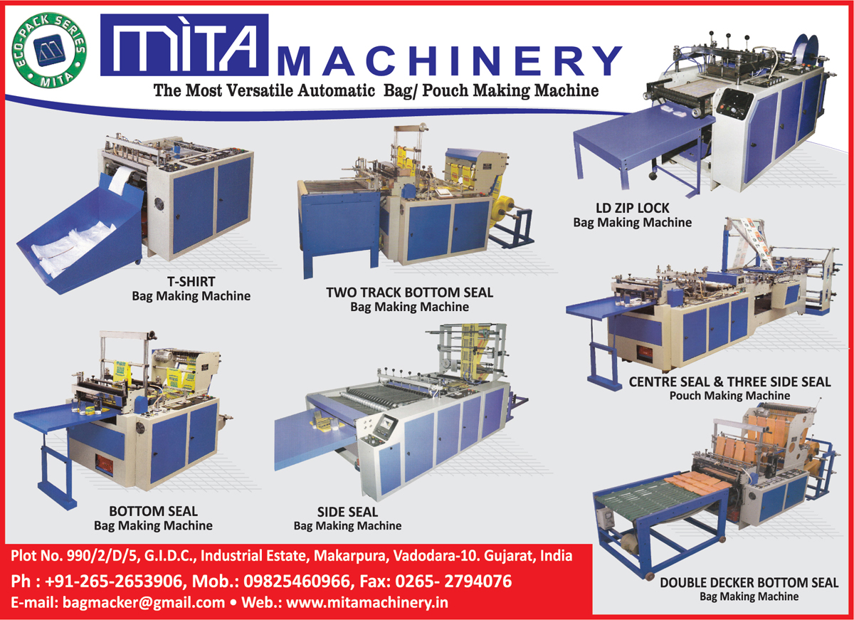 Bag Making Machines, Pouch Making Machines, T Shirt Bag Making Machines, Two Track Bottom Seal Bag Making Machines, LD Zip Lock Bag Making Machines, Centre Seal Pouch Making Machines, Three Side Seal Pouch Making Machines, Double Double Decker Bottom Seal Bag Making Machines, Side Seal Bag Making Machines, Bottom Seal bag Making Machines,Side Seal Bag Makers, Seal Bag Makers, Double Decker Bottom Seal Bag Makers, Automatic Bag Machine Machines