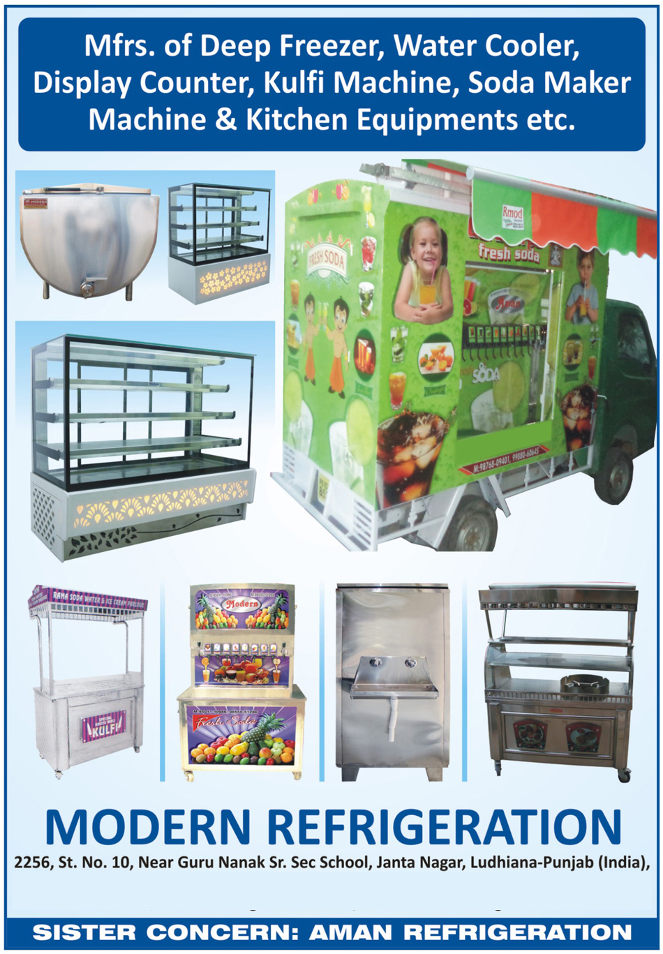 Deep Freezers, Water Coolers, Display Counters, Kulfi Machines, Soda Maker Machines, Kitchen Equipments, Mobile Van Soda Maker Machine, Vehicle Soda Maker Machine, 6 Valve Soda Maker Machine, 10 Valve Mobile Soda Maker Machine