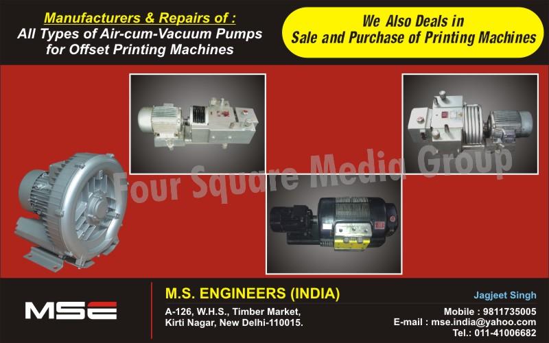 Air Vacuum Pumps, Printing Machine Repairs, Printing Machines, Offset Printing Machine services