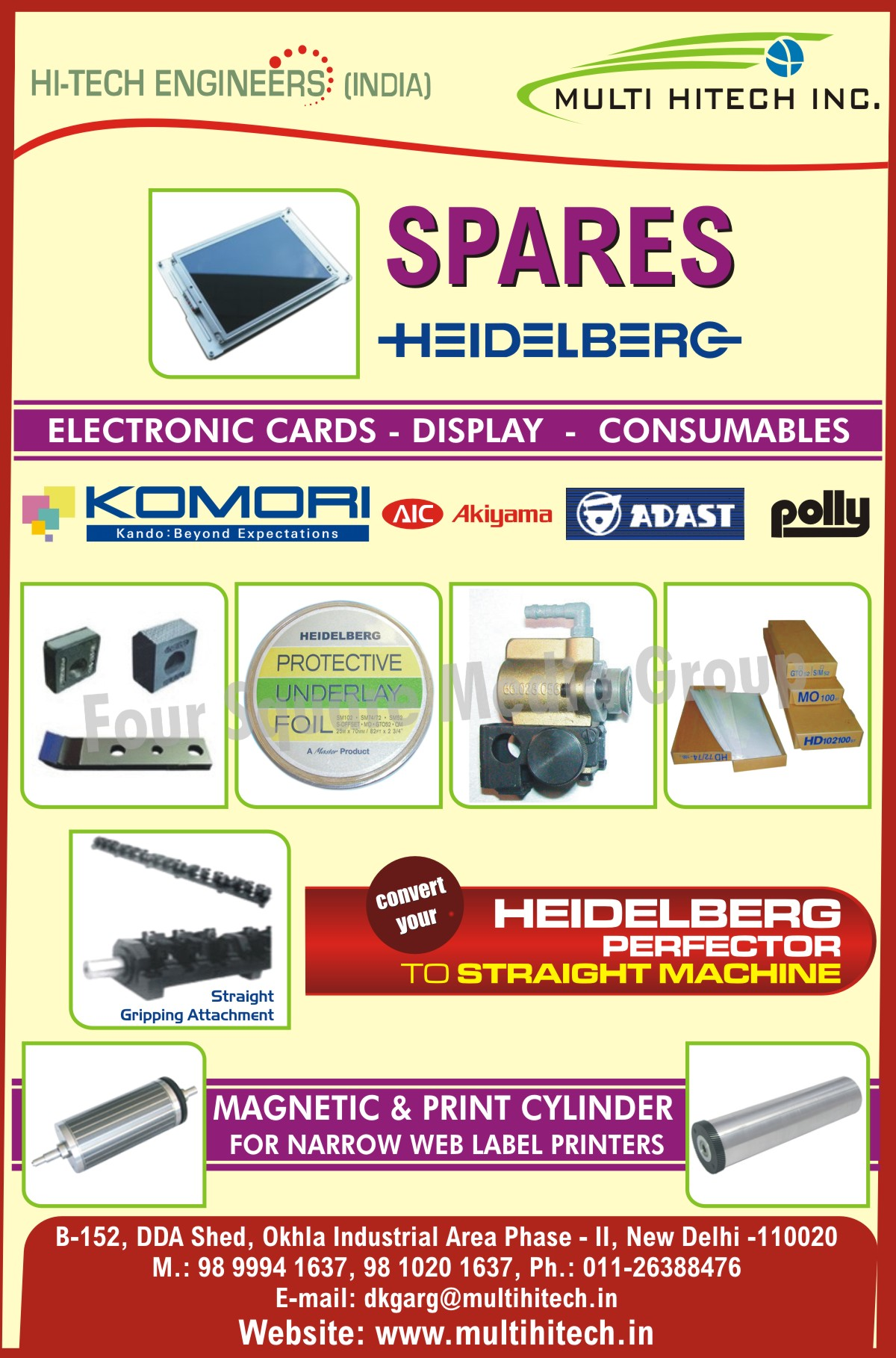 Electronic Cards, Magnetic Cylinders, Print Cylinders, Straight Machines