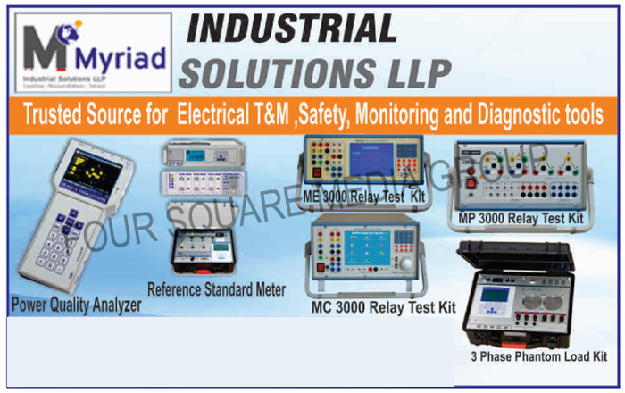 Power Quality Analyzers, Reference Standard Meters, Relay Test Kits, 3 Phase Phantom Load Kits, Three Phase Phantom Load Kits, Relay Test Kits, ME 3000 Relay Test Kits, MP 3000 Relay Test Kits, MC 3000 Relay Test Kits