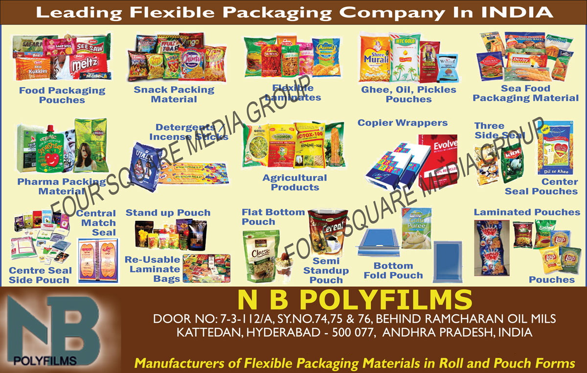 Food Packaging Pouches, Snack Packaging Materials, Flexible Laminates, Ghee Pouches, Oil Pouches, Pickles Pouches, Sea Food Packaging Materials, Pharma Packaging Material, Detergents Sticks, Incense Sticks, Agricultural Products, Copier Wrappers, Three Side Seal, Centre Seal Products, Centre Seal Side pouch, Central Match Seal, Stand Up Pouch, Re Usable Laminate Bags, Flat Bottom Pouch, Semi Stand up Pouch, Bottom Fold Pouch, Laminated Pouches, Pouches,Pharma Packing Material, Center Seal Pouches