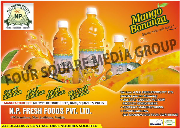 Fruit Juices, Fruit Bars, Squashes, Fruit Pulps