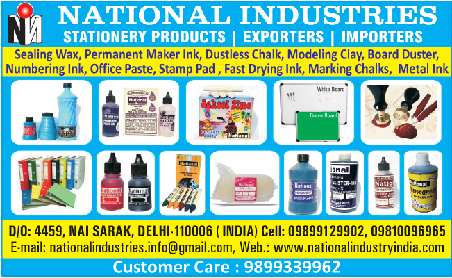 Stationery Products, Sealing Wax, Permanent Maker Inks, Dustless Chalk, Moulding Clays, Board Dusters, Numbering Inks, Office Paste, Stamp Pads, Fast Drying Inks, Marking Chalks, Metal Inks