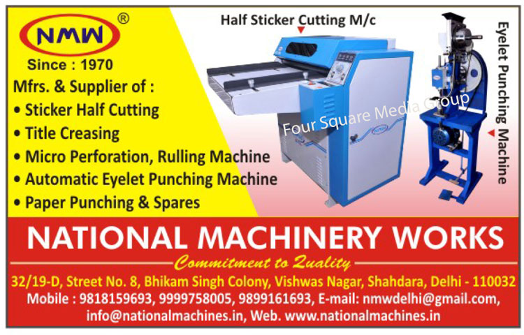 Paper Cuttings Machines, Die Punching Machines, Half Sticker Cutting Machines, Perforation Cum Creasing, Wireo Locking Machines, Tittle Creasing Machines, Paper Punching Machines, Allied Machines, Creasing Cum Perforation Machines, Paper Ruling Machines, Platan Punching Machines, Micro Perforation Machines, Half Sticker Cutting Machine, Speed Creaser, Paper Drill Machine, Single Head Eyelet Punching Machines, Double Head Eyelet Punching Machines