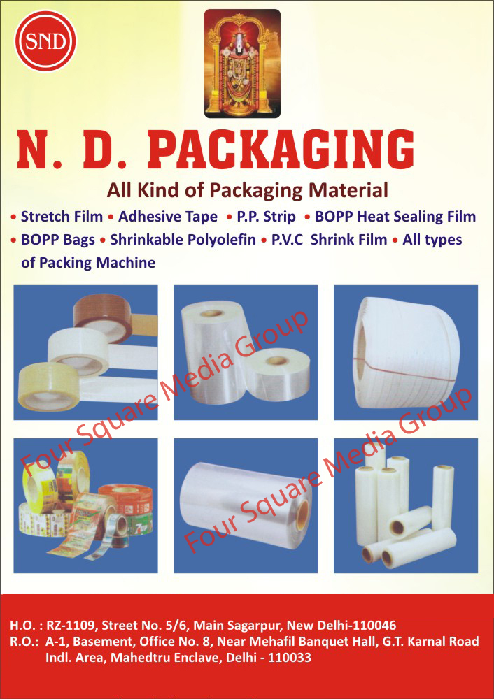 Packaging Materials, Stretch Films, Adhesive Tapes, PP Strips, Shrinkable Polyolefin, PVC Shrink Films, Packaging Machines, BOPP Heat Sealing Films, BOPP Bags, Shrinkable Polyolefin, PVC Shrink Films, Packing Machines