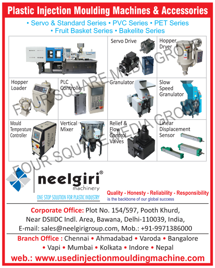 Hopper Dryers, Granulators, Hopper Loaders, Vertical Mixers, Controller Retrofit, Hydraulic Valves, Linear Displacement Sensors, Servo Drive, AC Drive, Servo Motors, Mould Temperature Controllers, PLC Control Systems, Injection Moulding Machines, Used Injection Moulding Machines, Second Hand Injection Moulding Machines, Plastic Auxiliary, Plastic Injection Moulding Machine Accessories, Plastic Injection Moulding Machine Accessory