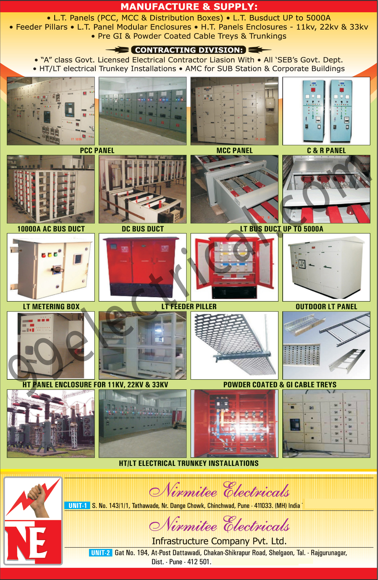 PCC Panel, MCC Panel, CR Panel, AC Bus Duct, DC Bus Duct, LT Bus Duct, LT Metering Duct, LT Feeder Piller, Outdoor Lt Panel, HT Panel Enclosure, Powder Coated, GI Cable Treys, Electrical Trunkey Installations, LT Panels, Panel Modular Enclousers,Electrical Products, Busduct, Distribution Boxes, Endosure, Electrical Panel, Powder Coated Trays, GI Cable Trays, HT Electrical Trunkey Insulations, LT Electrical Trunkey Insulations