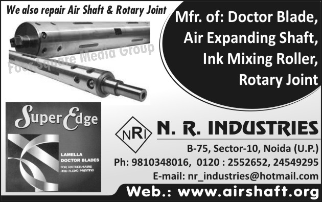 Doctor Blades, Air Expanding Shafts, Ink  Mixing Rollers, Rotary Joints, Rotary Joint Repairs, Air Shaft Repairs
