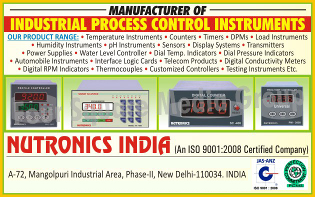 Industrial Process Control Instruments, Temperature Instruments, Digital Temperature Controllers, Blind Temperature Controllers, Digital Temperature Indicators, Dial Temperature Indicators, PID Controllers, Profile Controllers, Auto Scanners, Data Loggers, Data Logger Softwares, Temperature Sensors, Blood Bank Controllers, BOD Controllers,  Counters, Preset Counters, Event Counters, Rate Indicators, Timers, Digital Timers, Blind Timers, Time Measuring Timers, Cyclic Timers, Sequential Timers, DPMs, Ampere Meters, Volt Meters, Frequency Meters, Hour Meters, Current Transformers, Analog Meters, Calibrators, Watt Meters, Load Instruments, Load Indicators, Load Controllers, Load Controller Softwares, Load Cells, Humidity Instruments, Humidity Indicators, Humidity Controllers, Humidity Sensors, PH Instruments, PH Indicators, PH Controllers, PH Sensors, Sensors, Proximity Switches, Magnetic Switches, Float Switches, IR Sensors, PH Sensors, Load Cells, Humidity Sensors, Thermocouples, Current Transformers, Display Systems, Production Monitoring Systems, Andon Displays, Moving Display Systems, LED Display Boards, Multiline Display Boards, Scrolling Message Boards, Token Display Boards, Parking Guidance Systems, Transmitters, Power Supply, AC Power Supply, DC Power Supply, Water Level Controllers, Dial Temperature Indicators, Dial Pressure Indicators, Automobile Instruments, Interface Logic Cards, Telecom Products, Digital Conductivity Meters, Digital RPM Indicators, Customized Controllers, Testing Instruments