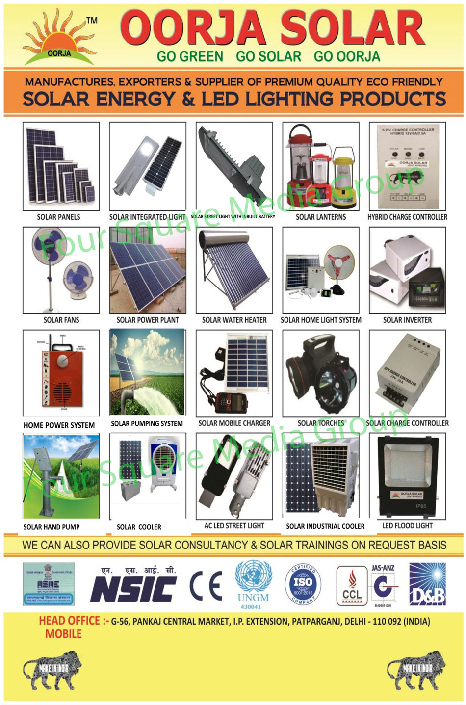 Solar Lantern, Solar Street Lights, Solar Home Light Systems, Solar Torch, Focus Lights, Solar Garden Lights, Solar Power Plants, Solar Agriculture Systems, Solar Cooker, Solar Crop Dryer, Solar Water Heating, Solar Fan, Solar Cooler, Solar Mobile Charger, CFL Street Lights, Led Lights, Led Street Lights, Two Led Solar Home Lights, Solar Home Light Economy, Three Led Solar Home Lights, Table Fans, Solar Road Studs, Cooling Caps, Solar Charge Controllers, Led Bulbs, Solar Energy Products, Solar Panels, Solar Integrated Lights, Hybrid Charge Controller, Solar Inverter, Led High Bay Lights, Dolphin Street Lights, AC Led Street Lights, Led Flood Lights, Led Tube Lights, Solar Consultancy Services, Solar Training Services