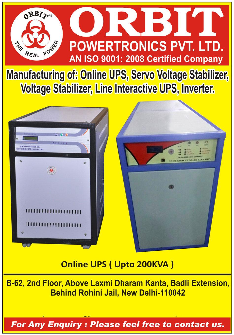 Online UPS, Servo Voltage Stabilizers, Voltage Stabilizers, Line Interactive UPS, Inverters,