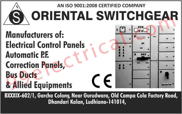 Electrical Control Panels, Automatic PF Correction Panels, Bus Ducts, Switchgears, Electrical Panels, Electrical Items, Bus Duct Equipments, Electrical Panel Board, Bus Allied Equipments