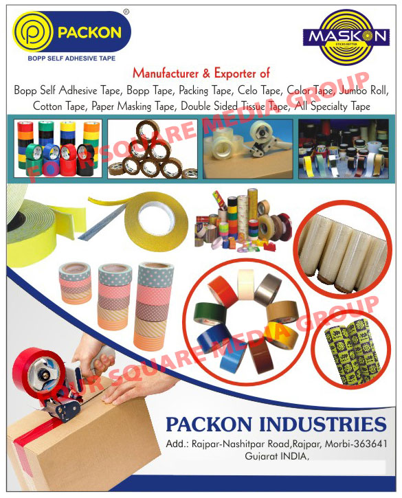 Bopp Self Adhesive Tapes, Bopp Tapes, Adhesive Tapes, Packing Tapes, Cello Tapes, Brown Tapes, Packaging Tapes, Cartoon Tapes, Box Tapes, Color Tapes, Jumbo Roll, Bopp Super Clear Tapes, Transparent Tapes, Transparent Adhesive Tapes, Cotton Tapes, Paper Masking Tapes, Double Sided Tissue Tapes, Special Tapes