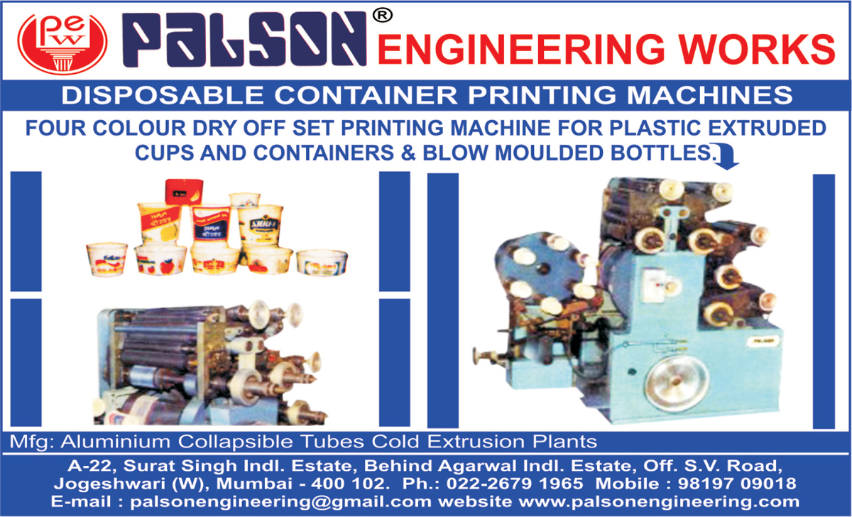 Four Colour Dry Offset Printing Machine For Plastic Extruded  Plastic Cups, Four Colour Dry Offset Printing Machine For Plastic Containers, Four Colour Dry Offset Printing Machine For Blow Moulded Bottles, Disposable Container Printing Machines, Aluminium Collapsible Tubes Cold Extrusion Plants