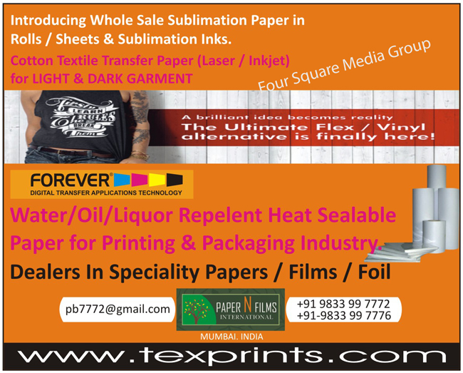 Cotton Textile Transfer Paper For Light Garments, Cotton Textile Transfer Paper For Dark Garments, Sublimation Papers, Sublimation Inks, Waterproof Coating For Papers, Waterproof Coating For Boards, Heat Sealable Coating For Papers, Heat Sealable Coating For Boards, Sublamination Paper Rolls, Sublamination Paper Sheets, Printing Papers, Packaging Papers, Printing Films, Packaging Films, Printing Foils, Packaging Foils, Printing Industry Water Repelent Heat Sealable Papers, Packaging Industry Water Repelent Heat Sealable Papers, Printing Industry Oil Repelent Heat Sealable Papers, Packaging Industry Oil Repelent Heat Sealable Papers, Printing Industry Liquor Repelent Heat Sealable Papers, Packaging Industry Liquor Repelent Heat Sealable Papers