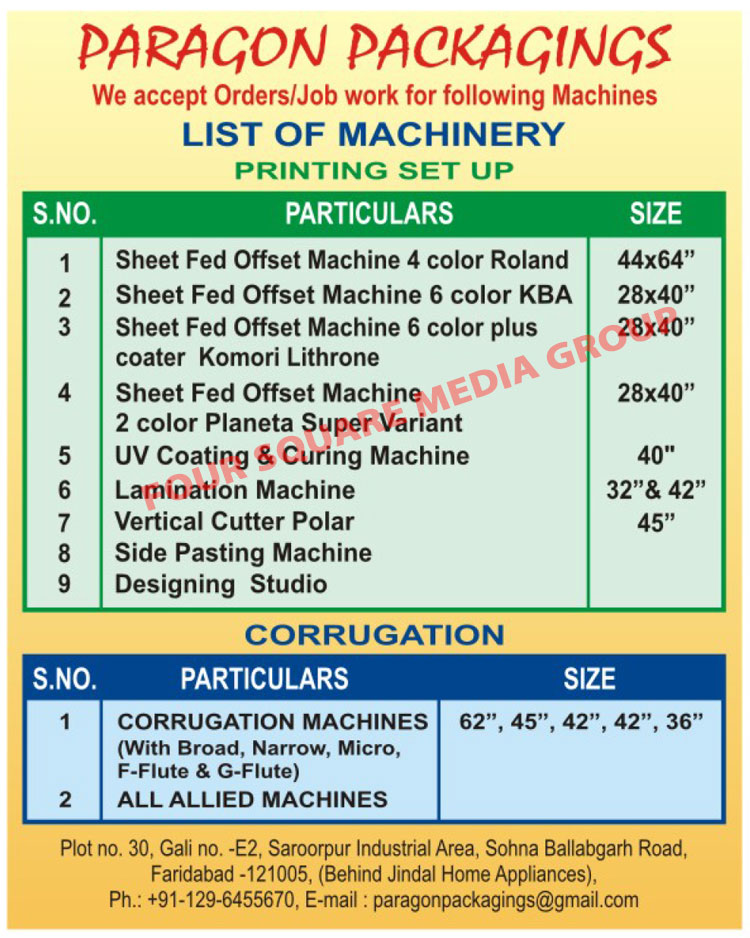Corrugation Machines, Corrugation Packaging Machine, Allied Machines, Sheet Fed Offset Printing Machines, UV Coating Machines, UV Curing Machines, Lamination Machines, Side Pasting Machines, Polar Vertical Cutter