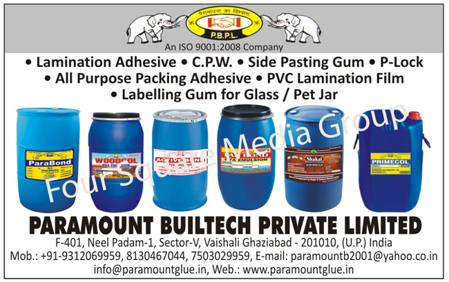 Lamination Adhesives, CPW, Side Pasting Gum, P Locks, Packing Adhesives, PVC Lamination Films, Glass Labeling Gums, Pet Jar Labeling Gums