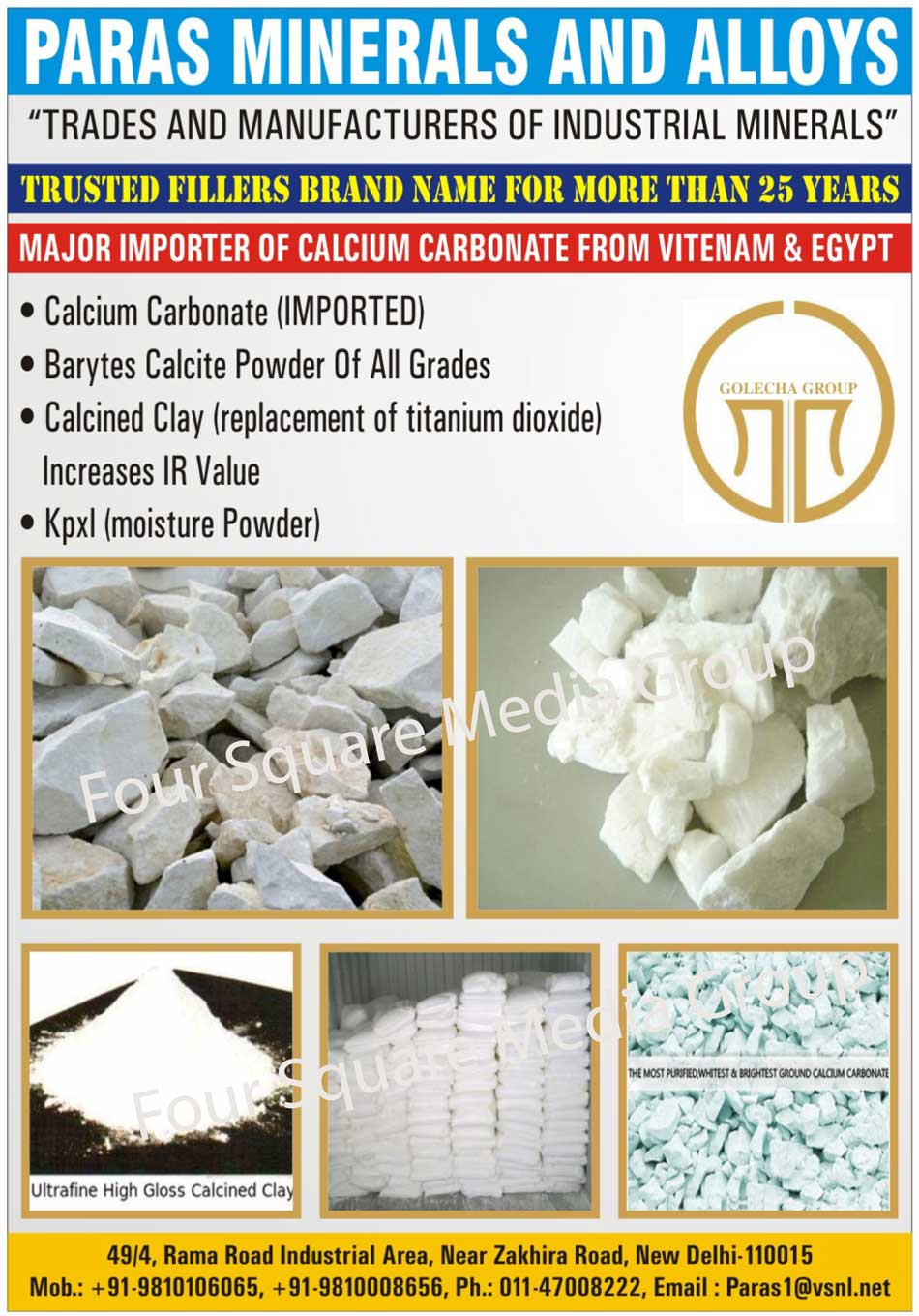 Industrial Minerals, Calcium Carbonate, Baryte Calcite Powder, Calcined Clay, Kpxl Powder, Moisture Powder