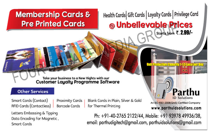 Membership Cards, Pre Printed Cards, Health Cards, Gift Cards, Loyalty Cards, Privilege Cards, Contact Smart Cards, Contactless RFID Cards, Proximity Cards, Barcode Cards, Plain Blank Cards For Thermal Printings, Silver Blank Cards For Thermal Printings, Gold Blank Cards For Thermal Printings, Letters Embossing For Magnetic Smart Cards, Tipping Data Encoding For Magnetic Smart Cards