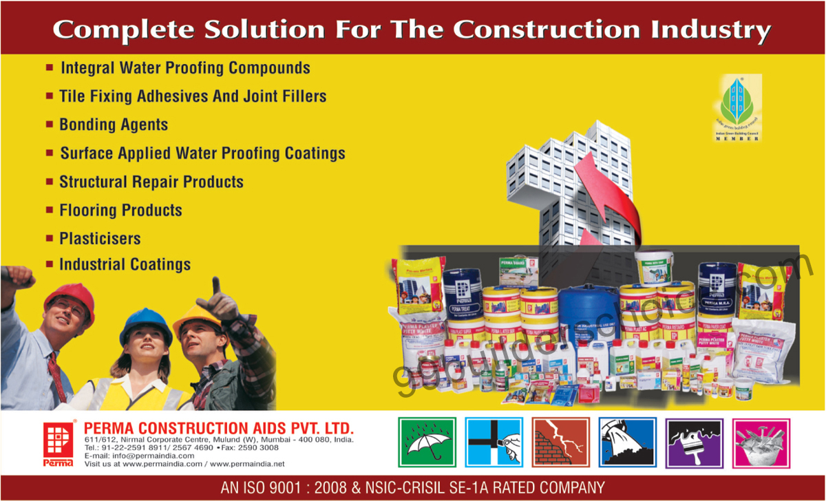 Waterproofing Systems, Perma Tiling Aids, Coating, Industrial Coatings, Plasticisers, Tile Fixing Adhesives, Joint Fillers, Flooring Products,Construction Aids, Industrial Coatings