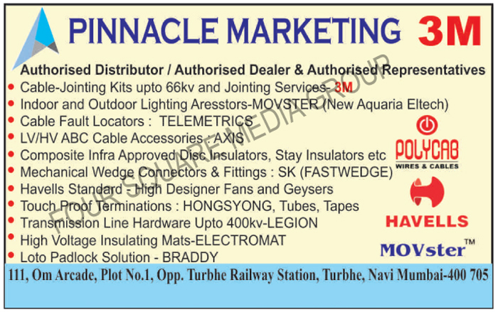 Cable Jointing Kits, Indoor Lighting Arrestors, Outdoor Lighting Arrestors, Cable Fault Locators, LV ABC Cable Accessories, HV ABC Cable Accessories, Disc Insulators, Stay Insulators, Mechanical Wedge Connectors, Mechanical Wedge Fittings, Fans, Geysers, Touch Proof Terminations, Transmission Line Hardware, High Voltage Insulating Mats, Loto Padlock SolutionS