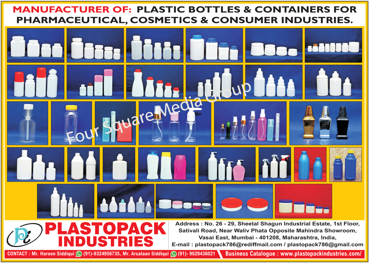 Plastic Containers, Plastic Bottles, Pharmaceutical Plastic Containers, Pharma Plastic Containers, Nasal Spray Bottle, Spray Bottle, Dry Syrup Bottle, Lotion Bottle, Shampoo Bottle, Surma Bottle, Cream Jar, Assembly Dropper, Table Container, Neel Bottle, Roll on Bottle, Cosmetic Bottle, Coconut Oil Bottle,Plastic Containers, Freezer Bottles, Pharmaceutical Bottles, Churna Bottle, Presticide Bottle, Fliptop Cap, Measuring Cups, Injection Box