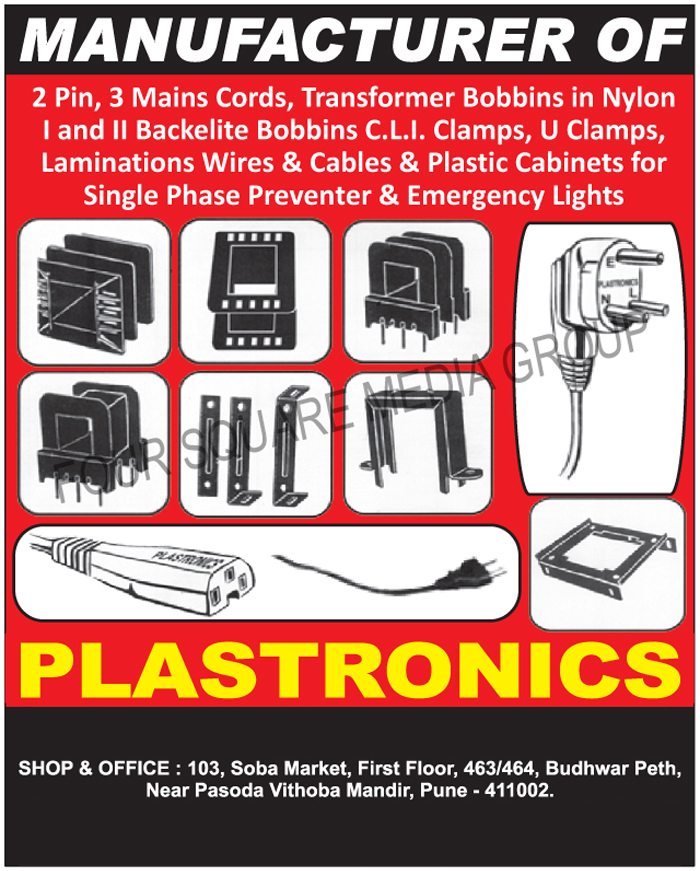 Single Phase Preventer Lamination Wires, Single Phase Preventer Lamination Cables, Single Phase Preventer Plastic Cabinets, Emergency Light Lamination Wires, Emergency Light Lamination Cables, Emergency Light Plastic Cabinets, Two Pin Cords, 2 Pin Cords, 3 Main Cords, Three Main Cords, Nylon Transformer Bobbins, Bakelite Bobbins, CLI Clamps, U Clamps
