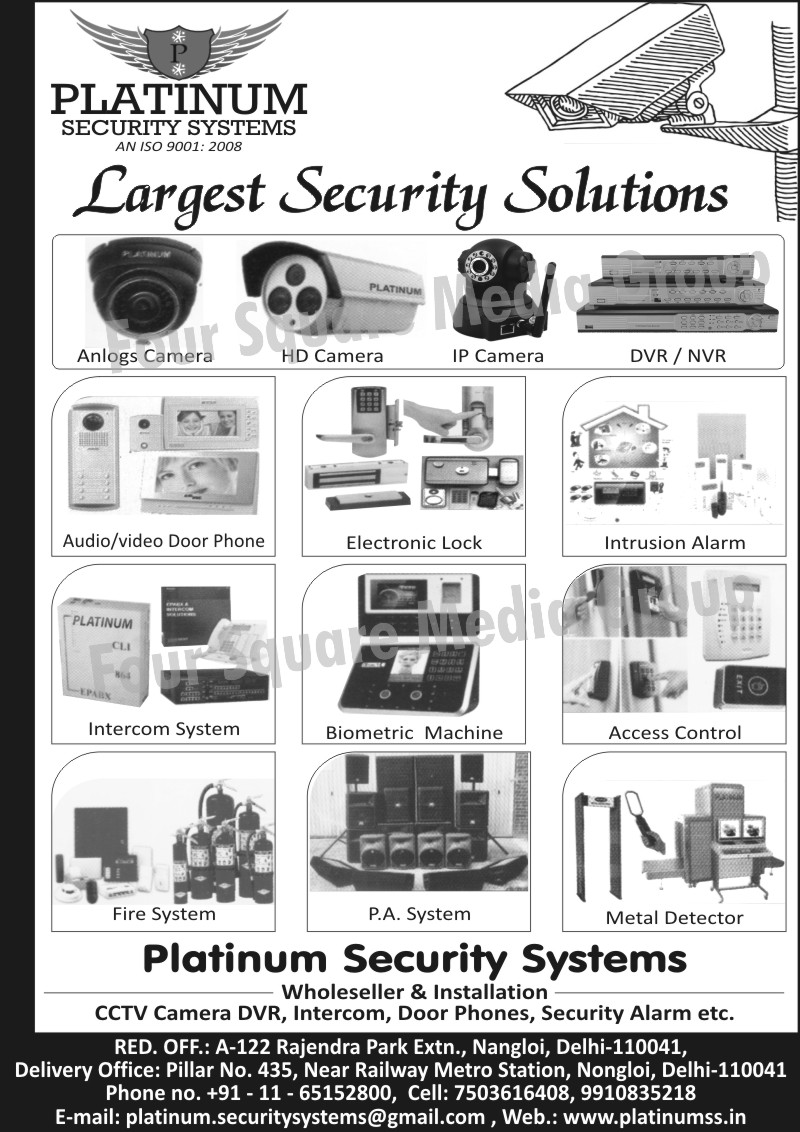 DVR, NVR, Analogue Cameras, HD Cameras, IP Cameras, Electronic Locks, Intrusion Alarms, Intercom Systems, Biometric Machines, Digital Video Recorders, Audio Door Phones, Video Door Phones, Access Controls, Fire Systems, PA Systems, Metal Detectors, CCTV Camera DVR, CCTV Camera Digital Video Recorders, Intercom, Door Phones, Security Alarms, Fire Safety Products