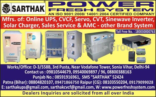 Online UPS, CVCF, CVT, Sinewave Inverters, Solar Charger,UPS, Inverters