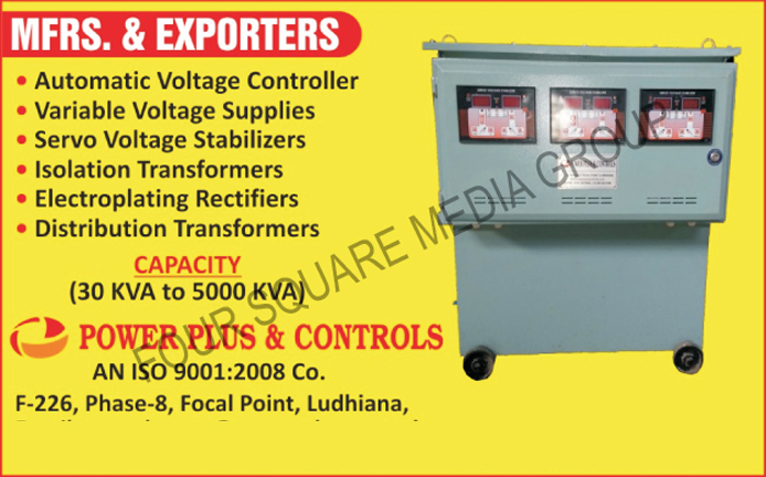 Automatic Voltage Controllers, Variable Voltage Supplies, Variable Voltage Supply, Servo Voltage Stabilizers, Isolation Transformers, Electroplating Rectifiers, Distribution Transformers