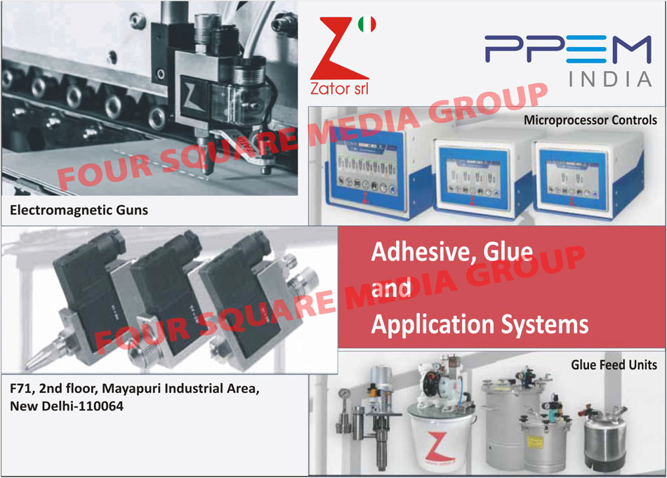 Adhesive Application Systems, Glue Application Systems, Electromagnetic Guns, Microprocessor Controls, Glue Feed Units