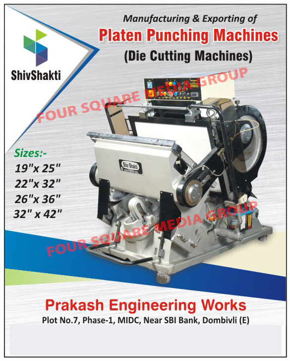 Die Punching Machines, Platen Punching Machines, Packaging Machines, High Speed Carton Folders Gluer Machines