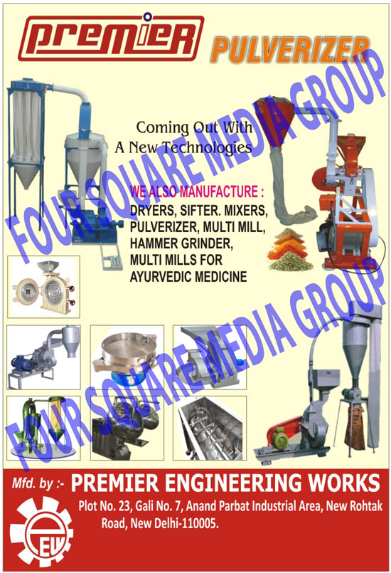 Pulverizers,Rotary Sifter, Hammer Grinder, Ribbon Blender, Pin Mill Machine, Mass Mixer, Hammer Grinder Mill, Disintegrators, Conical Mixer, Coating Pans, Ball Mill, Tray Dryers, Hammer Grinder,  Vibro Sifter, Dryers, Sifters, Mixers, Multi Mills, Hammer Grinders, Multi Mills For Ayurvedic Medicines