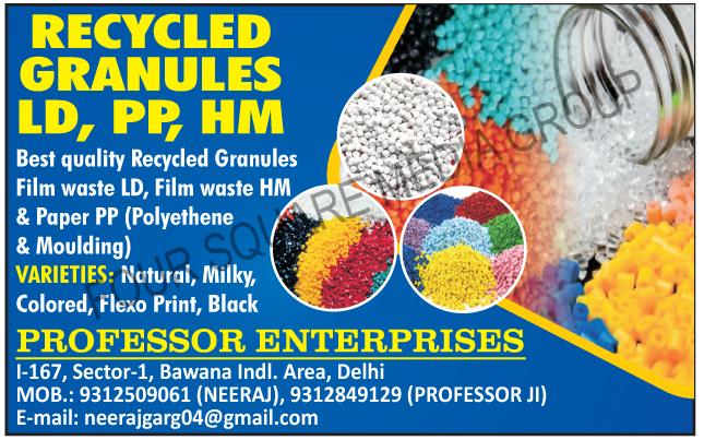 Recycled Granules, Recycled LD Granules, Recycled PP Granules, Recycled HM Granules, Recycled Film Waste LD Granules, Recycled Film Waste HM Granules, Recycled Film Waste Paper PP Granules