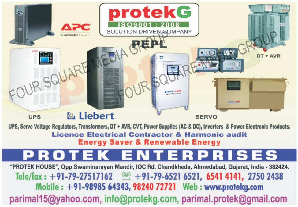 UPS, Servo Voltage Regulators, Transformers, DT And AVR, CVT, AC Power Supply, AC Power Supplies, DC Power Supply, DC Power Supplies, Inverters, Power Electronic Products