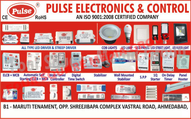 Led Drivers, Streep Drivers, COB Lights, Led Lamps, Led Street Lights, Led Flood Lights, MCB, ELCB, Automatic Level Controllers, Water Lavel Controllers, Stabilizers, Wall Mounted Stabilizers, SPP, Starters, On Delay Timers, Panel Hooter