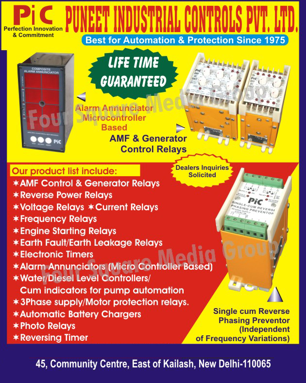 AMF Control Relays, Generator Control Relays, Reverse Power Relays, Voltage Relays, Current Relays, Earth Fault Relays, Earth Leakage Relays, Alarm Annunciators, Water Level Controllers, Diesel Level Controllers, Three Phase Supply Relays, Motor Protection Relays, Battery Chargers, Photo Relays, Reversing Timers,